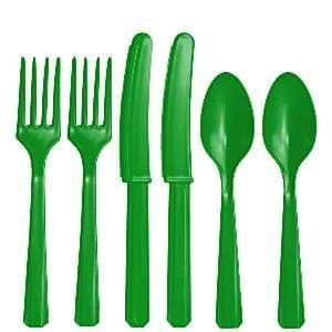 Cutlery: Green Plastic Cutlery - Assorted Party Pack (24pc)