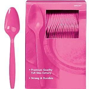 Cutlery: Hot Bright Pink Plastic Spoons 100pk