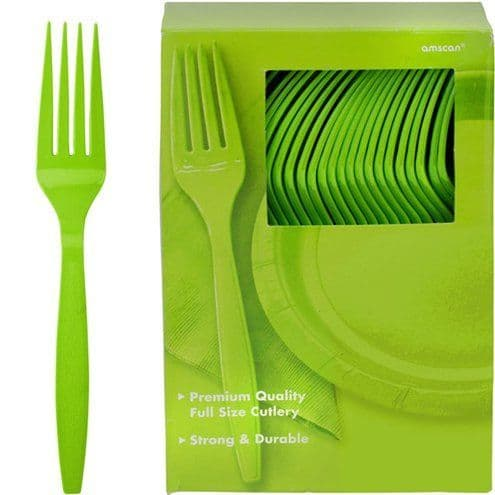 Cutlery: Kiwi Green Party Plastic Forks (100pk)