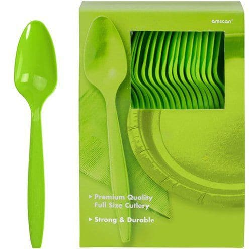 Cutlery: Kiwi Green Party Plastic Spoons (100pk)