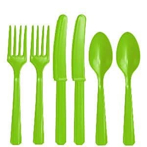Cutlery: Lime - Kiwi Green Party Assorted Plastic Cutlery (24pc)