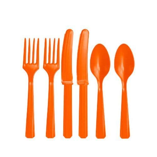 Cutlery: Orange Party Assorted Plastic Cutlery (24pc)