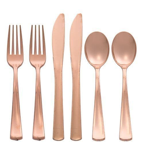 Cutlery: Premium Rose Gold Reusable Plastic Cutlery - Assorted Party Pack