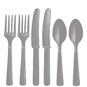 Cutlery: Silver Party  Assorted Plastic Cutlery (24pc)