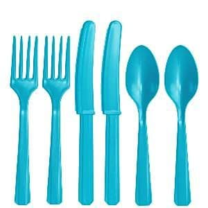 Cutlery:  Turquoise Party Assorted Plastic Cutlery (24pc)