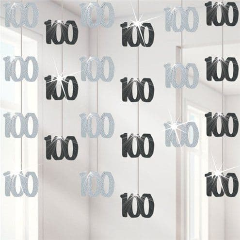 Decoration: 100th Birthday Black Hanging Decorations - 5ft