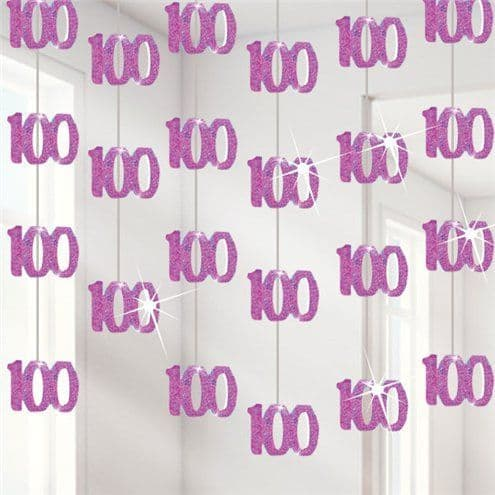Decoration: 100th Birthday Pink Hanging Decorations - 1.52m