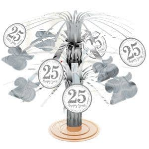 Decoration: 25th Silver Sparkling Wedding Anniversary Table Centrepiece