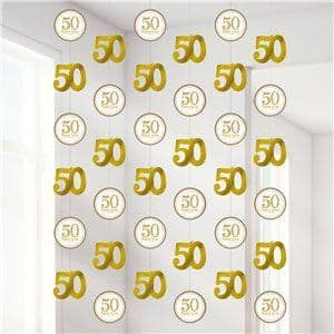 Decoration: 50th Gold Sparkling Wedding Anniversary String Decoration