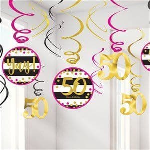 Decoration: 50th Pink & Gold Milestone Hanging Swirls