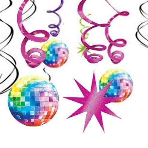 Decoration: 70s Disco Fever Hanging Swirls Decoration - 60cm