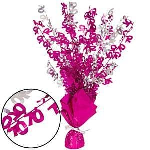 Decoration: 70th Pink Foil Centrepiece - Table Decoration 43cm