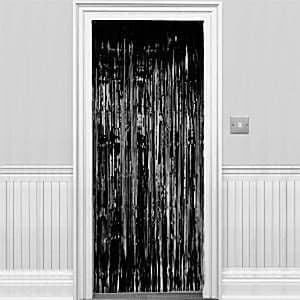 Decoration: Black Metallic Fringed Door Curtain - 2.4m (each)