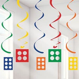 Decoration: Block Party Hanging Swirls (5pk)