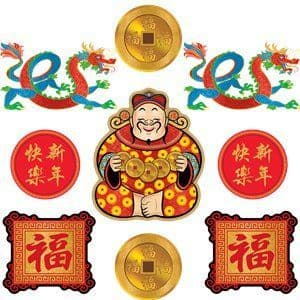 Decoration: Chinese New Year Cutouts - Various Sizes x9pk