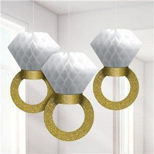 Decoration: Engagement Ring Honeycomb Hanging Decorations - 30cm x3pk