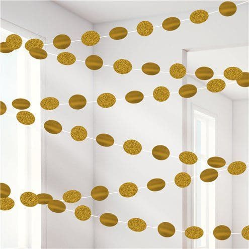 Decoration: Gold Glitter Hanging String Decorations x6pk