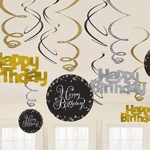 Decoration: Gold Sparkling Celebration Happy Birthday Hanging Swirls - 45cm 12pk