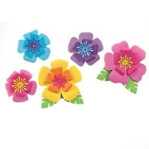Decoration: Hawaiian Hibiscus Paper Flower Decorations x5pk