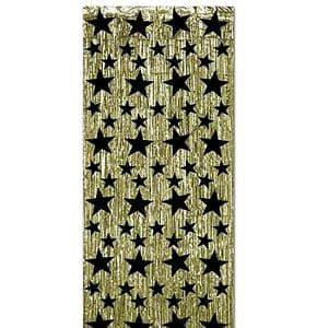 Decoration: Hollywood Star Attraction Gold with Black Stars Metallic Curtain (each)