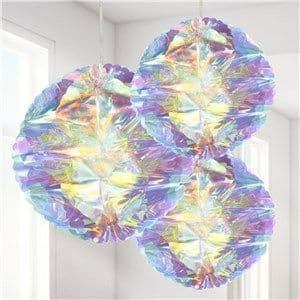 Decoration: Iridescent Honeycomb Hanging Decorations - 25cm x3pk