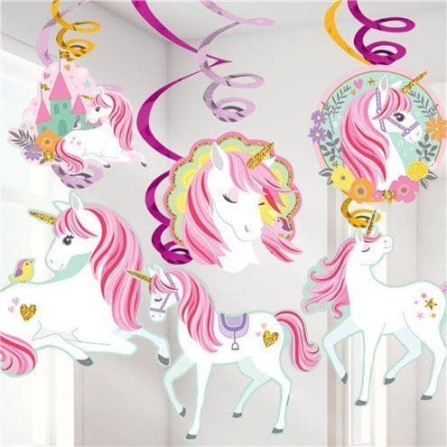 Decoration: Magical Unicorn Hanging Swirls x12pk