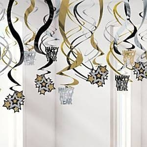 Decoration: New Year Hanging Swirls - 60cm (30pk)