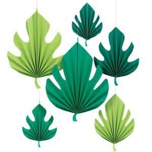 Decoration: Palm Leaf Paper Fan Decorations - 40cm x6pk