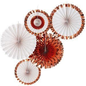 Decoration: Pick & Mix Rose Gold Fan Decorations - 38cm x5pk