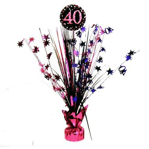 Decoration: Pink Celebration Age 40 Table Centrepiece - 46cm