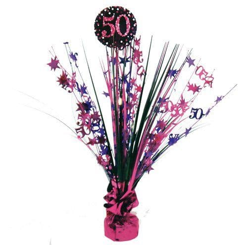 Decoration: Pink Celebration Age 50 Table Centrepiece - 46cm