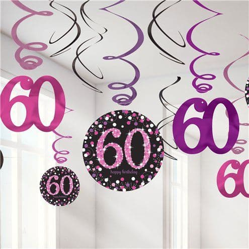 Decoration: Pink Celebration Age 60 Hanging Swirls - 45cm x12pk