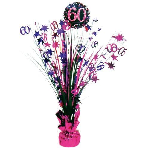 Decoration: Pink Celebration Age 60 Table Centrepiece - 46cm
