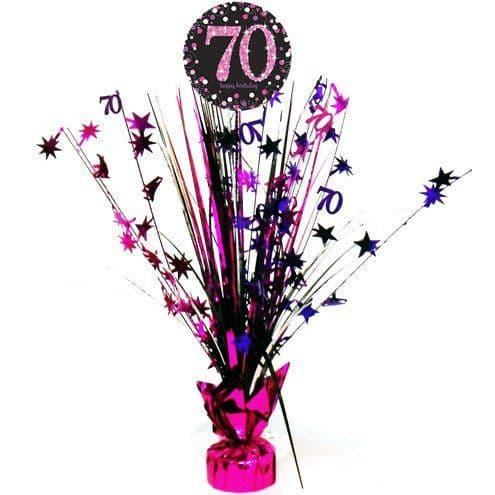 Decoration: Pink Celebration Age 70 Table Centrepiece - 46cm