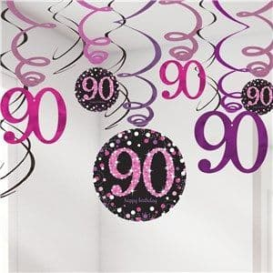 Decoration: Pink Celebration Age 90 Hanging Swirls - 17cm