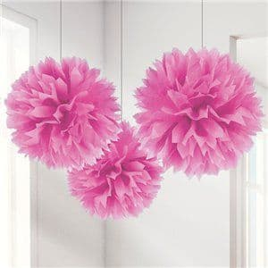 Decoration: Pink Pom Pom Decorations - 40cm x3pk