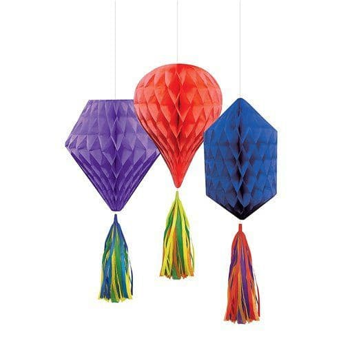 Decoration: Rainbow Mini Honeycombs with Tassels