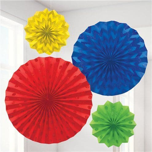Decoration: Rainbow Paper Glitter Fan Decorations x4pk