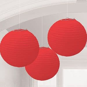 Decoration: Red 24cm Paper Lanterns (3pk)