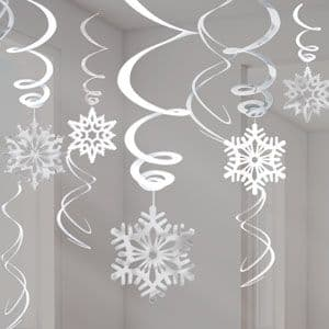 Decoration: Snowflake Hanging Swirls - 60cm Christmas Decorations (12pk)