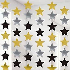 Decoration: Solid Colour Decorations Gold Silver & Black Star Strings - 2.1m (6pk)