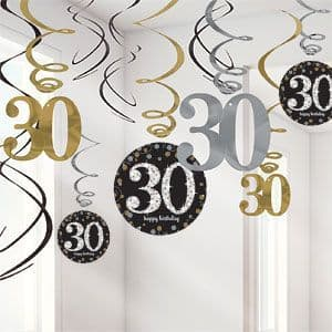 Decoration: Sparkling Celebration Age 30 Hanging Swirls (12pk)