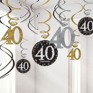 Decoration: Sparkling Celebration Age 40 Hanging Swirls  (12pk)