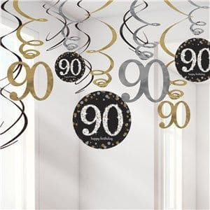 Decoration: Sparkling Celebration Age 90 Hanging Swirls - 17cm