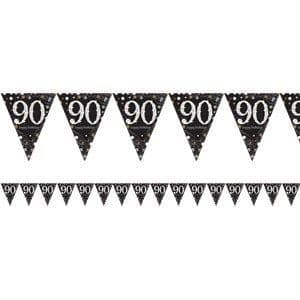 Decoration: Sparkling Celebration Age 90 Prismatic Foil Bunting - 4m