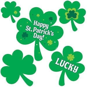 Decoration: St Patricks Day Shamrock Cutouts - 30cm (30pk)