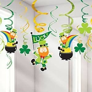 Decoration: St. Patrick's Day Hanging Swirls - 25cm x12pk