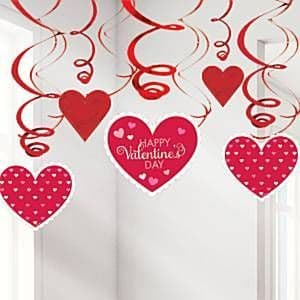 Decoration: Valentines Day Hanging Swirls - 60cm x30pk