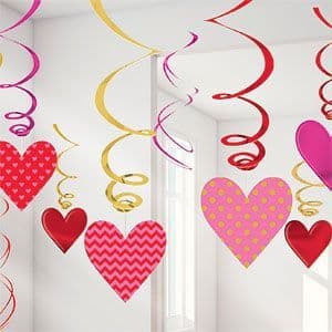 Decoration: Valentines Hanging Swirls x12pk
