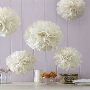 Decoration: Vintage Lace Set of 5 Ivory Pom Poms (5pk)